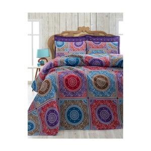 Lekka narzuta na łóżko dwuosobowe Ornament Purple, 200x235cm