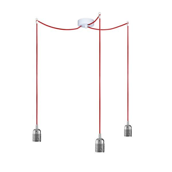 Trzy wiszące kable Uno, srebrny/czerwony/biały