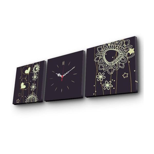 Obraz z zegarem Abstraktní květiny