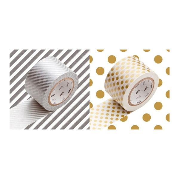 Zestaw 2 taśm dekoracyjnych washi Pois Rayures Silver Gold