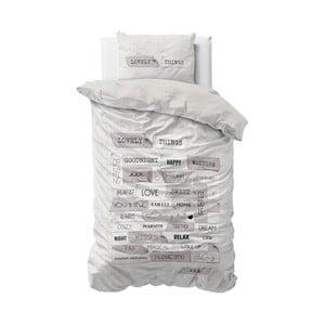 Szara pościel z mikroperkalu Sleeptime Lovely Things, 140x220 cm