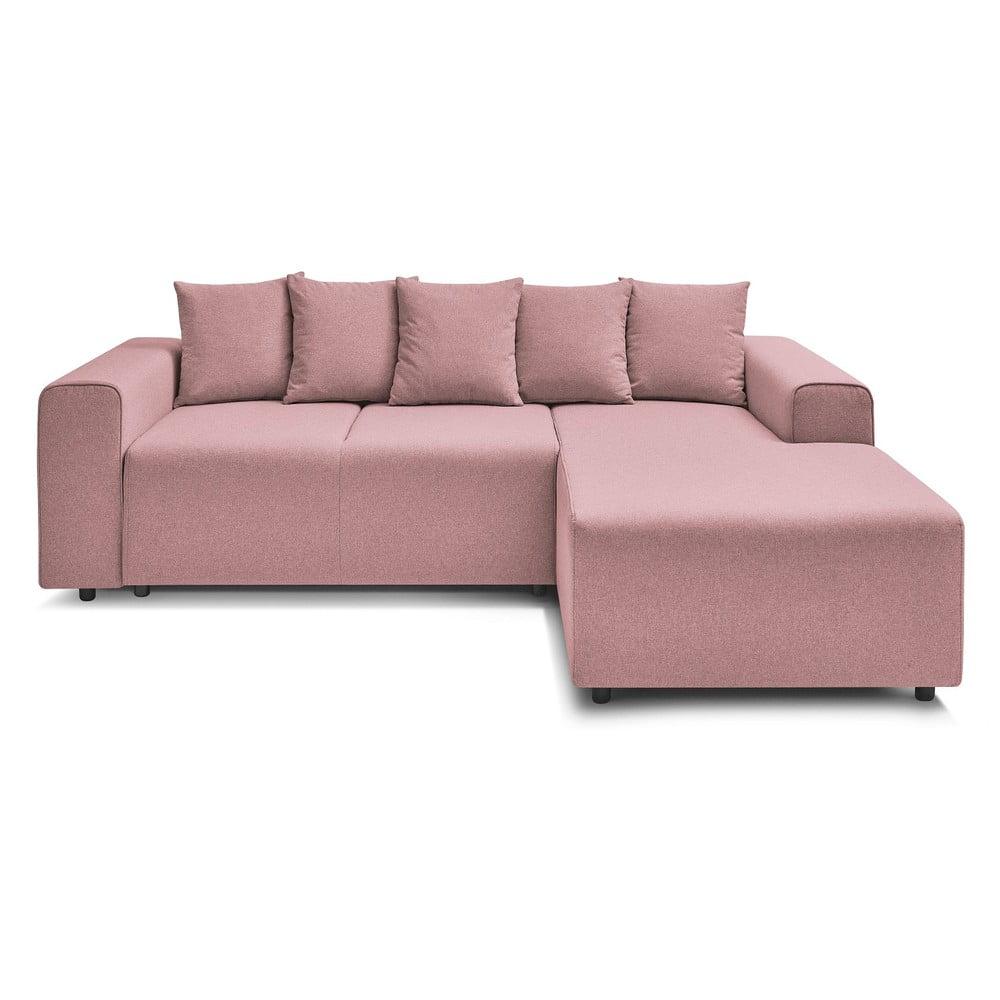 Jasnoróżowa rozkładana sofa Bobochic Paris Faro, prawostronna