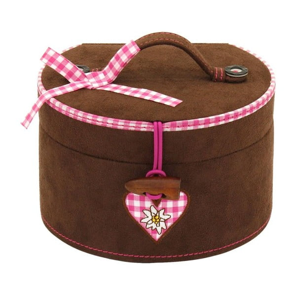 Szkatułka na biżuterię Bagvaria Brown/Pink, 15,5x14x10 cm