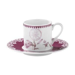 Zestaw 6 filiżanek porcelanowych ze spodkami Kutahya Rose Floral, 50 ml