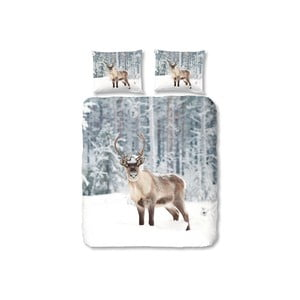 Szara pościel Good Morning Deer in Snow, 200x200 cm