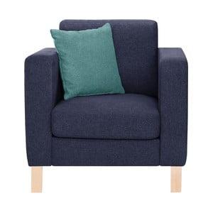 Granatowy fotel z jasnoniebieską poduszką Stella Cadente Canoa