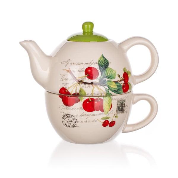 Ceramiczny dzbanek z filiżanką Banquet Cherry, 360/300 ml