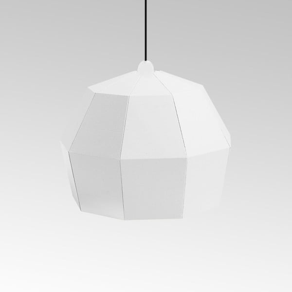 Kartonowa lampa Uno Fantasia A White, z czarnym kablem