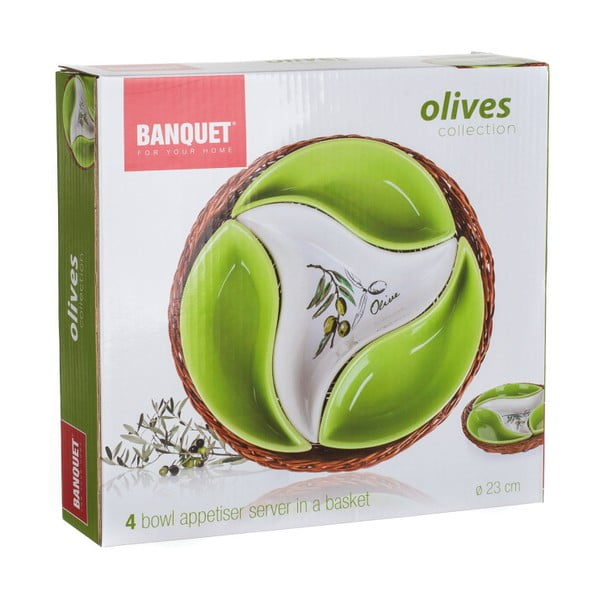 Miska w koszyku Banquet Olives, 23 cm, 4 elementy
