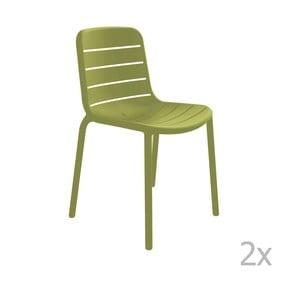 Zestaw 2 zielonych krzeseł ogrodowych Resol Gina