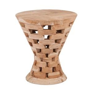 Stołek z drewna tekowego Mikkel