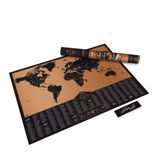 Mapa/zdrapka świata Luckies of London Black Adventure