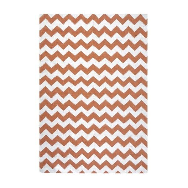 Dywan wełniany Geometry Zic Zac Orange & White, 160x230 cm