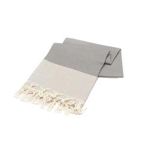Szary ręcznik Hammam Bal Petergi, 100x180cm