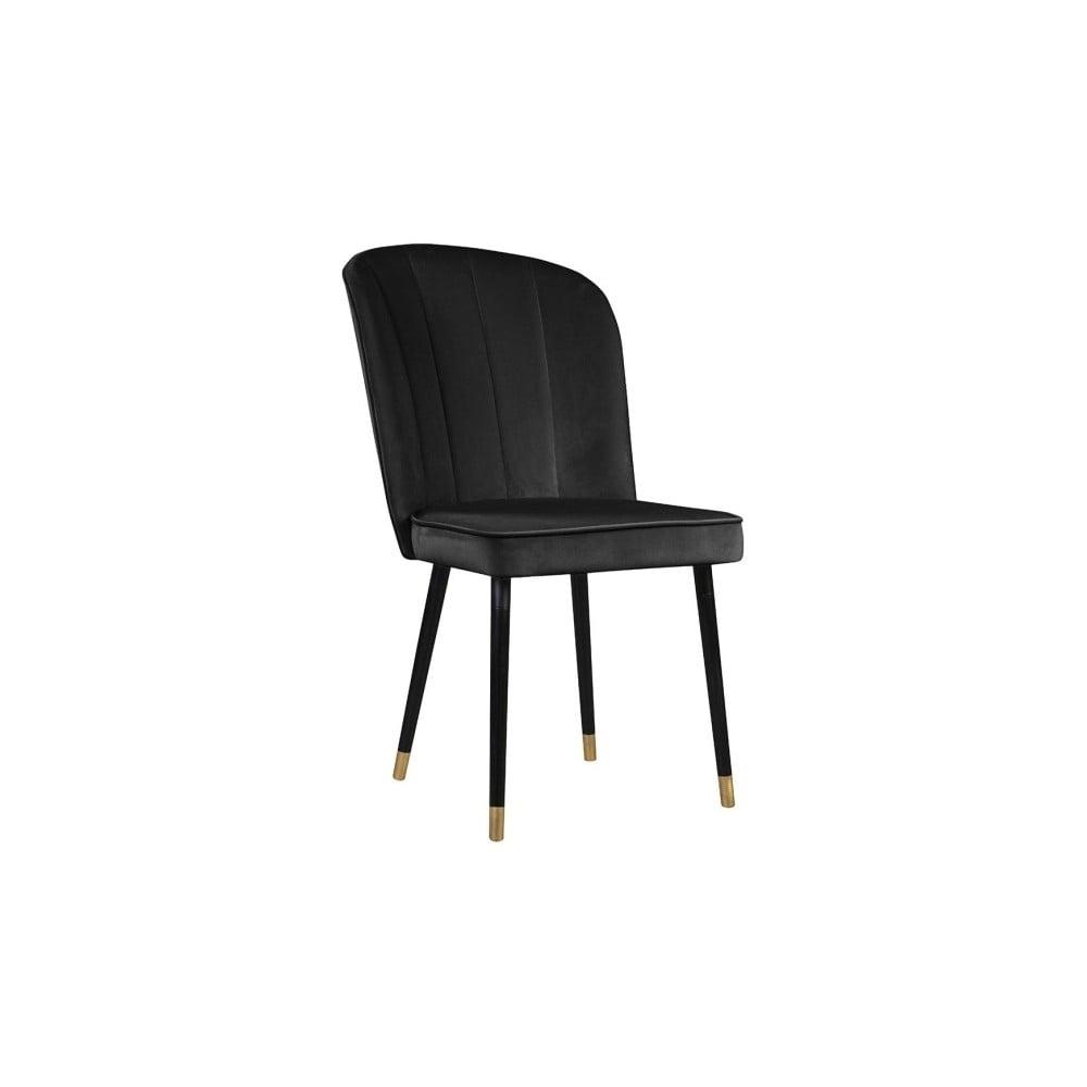Ciemnoszare krzesło z detalami w złotym kolorze JohnsonStyle Leende French Velvet