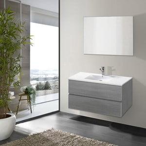 Szafka do łazienki z umywalką i lustrem Flopy, odcień szarości, 80 cm