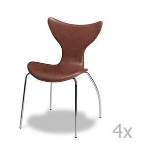 Zestaw 4 brązowych krzeseł Knuds Amy