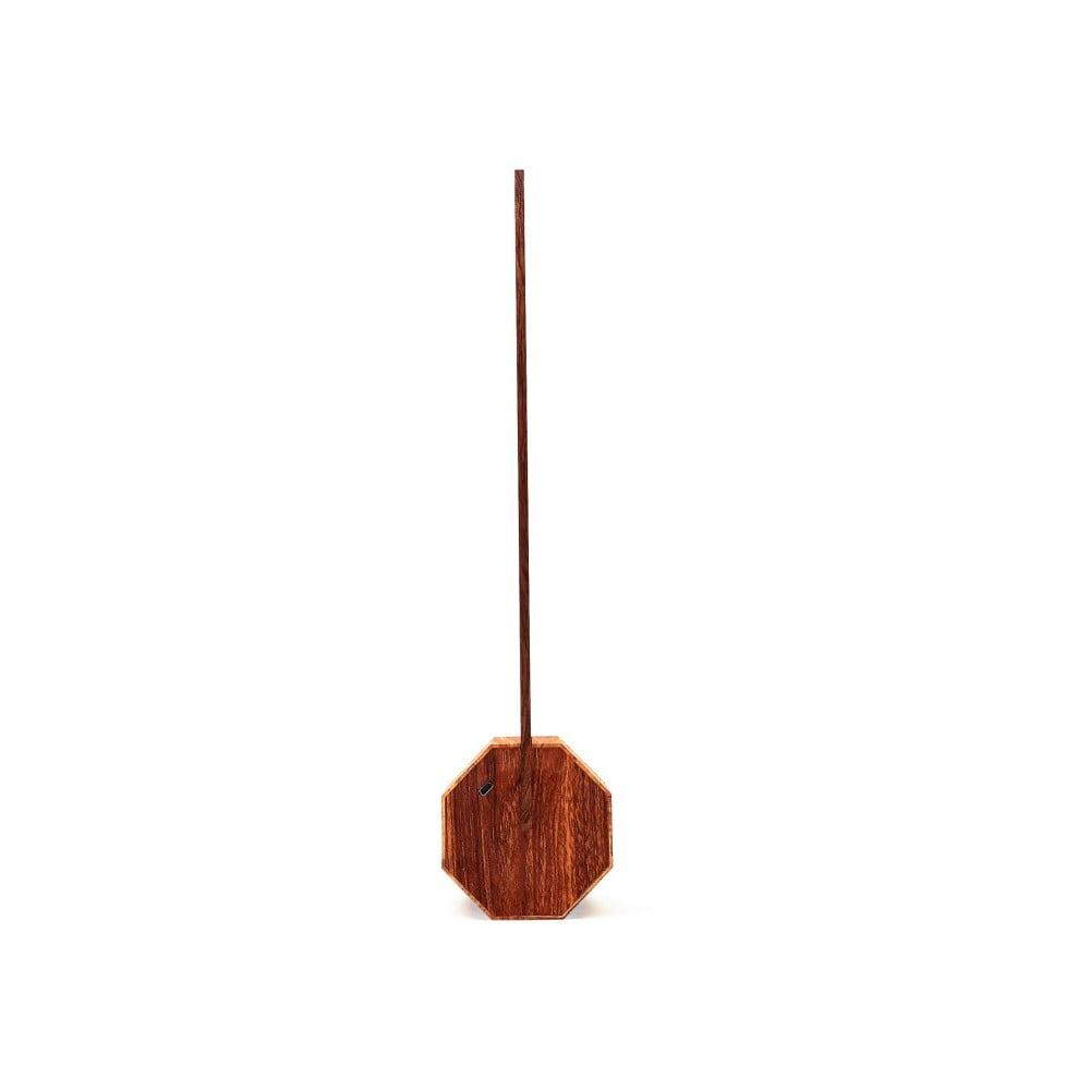 Brązowa lampa stołowa w dekorze drewna klonowego Gingko Octagon
