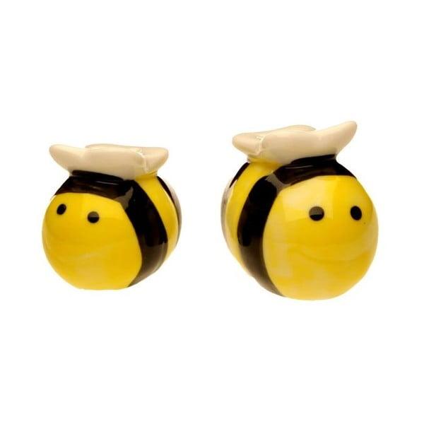 Solniczka i pieprzniczka w kształcie pszczół w ozdobnym opakowaniu Just Mustard Meant to Bee