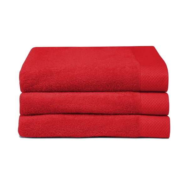 Zestaw 3 czerwonych ręczników Seahorse Pure,60x110cm