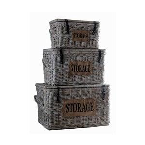 Zestaw 3 kufrów z rattanu koboo HSM Collection Tekst