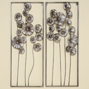Zestaw 2 dekoracji naściennych Flowers