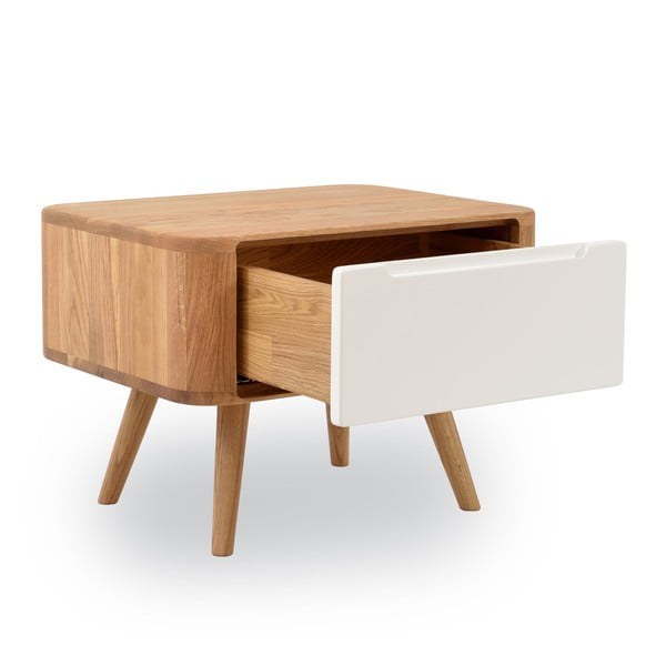 Dębowy stolik nocny Gazzda Ena Two, 55x42 cm
