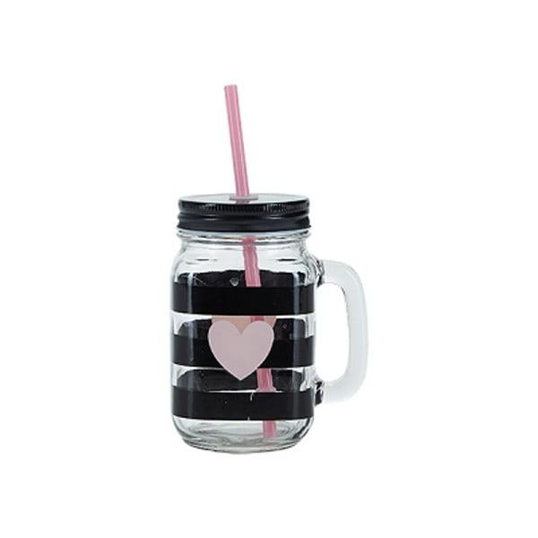 Słoik/szklanka ze słomką Miss Étoile Heart