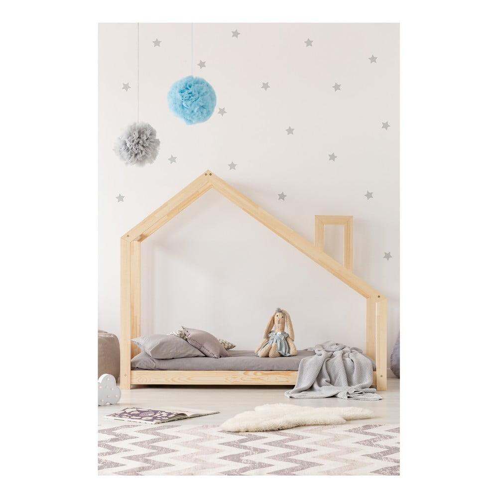 Łóżko w kształcie domku z drewna sosnowego Adeko Mila DMS, 80x160 cm