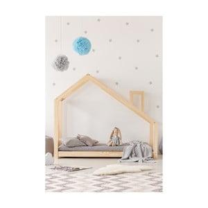 Łóżko w kształcie domku z drewna sosnowego Adeko Mila DMS, 135x190 cm