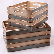 Komplet 2 dużych drewnianych skrzynek Rustic, 2 szt.