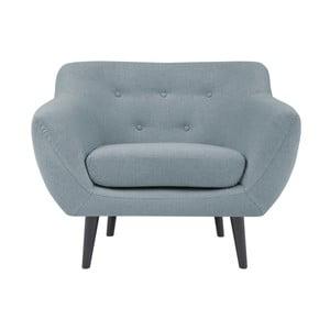 Jasnoniebieski fotel z brązowymi nogami Mazzini Sofas Piemont