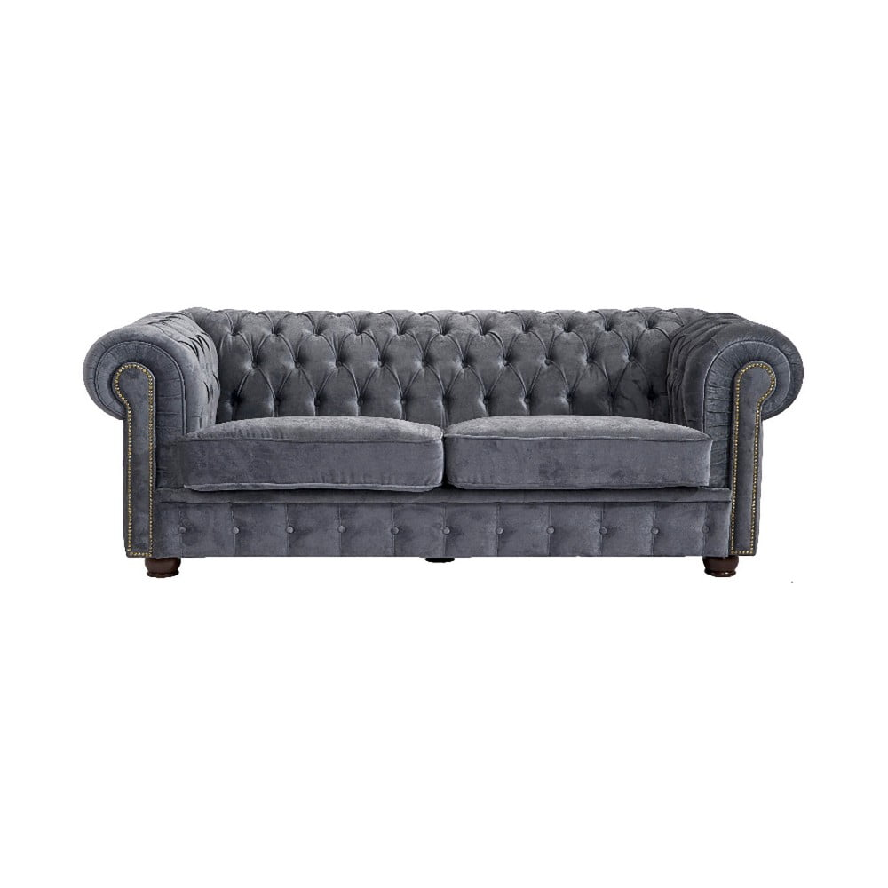 szara sofa dwuosobowa max winzer norwin velvet bonami. Black Bedroom Furniture Sets. Home Design Ideas