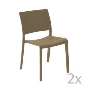 Zestaw 2 czekoladowobrązowych krzeseł ogrodowych Resol Fiona