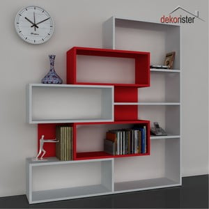 Biblioteczka Marla Book White/Red, 25x139,1x151,2 cm