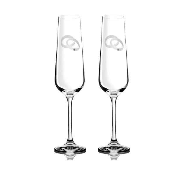 Zestaw 2 kieliszków do szampana Agape ze Swarovski Elements w eleganckim opakowaniu