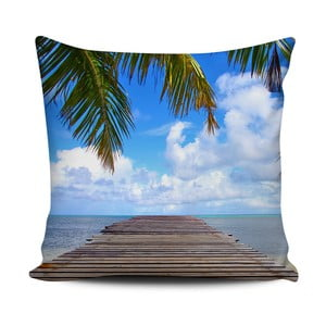 Niebieska poduszka Home de Bleu Tropical Pier, 43x43cm