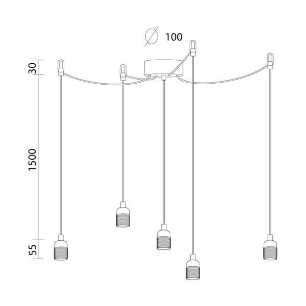 Lampa wisząca z 3 czarnymi kablami i oprawą żarówki w srebrnym kolorze Bulb Attack Uno Group