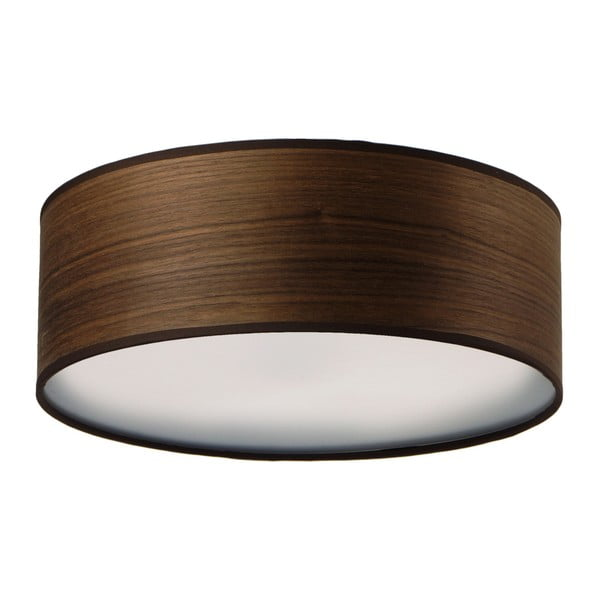 Ciemnobrązowa lampa sufitowa z naturalnego forniru Bulb Attack Ocho,⌀30cm