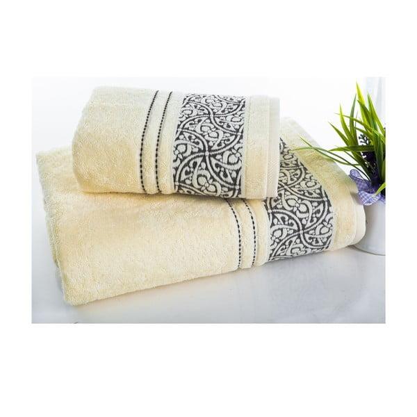 Zestaw 2 ręczników Saray Cream, 50x90 cm i 70x140 cm