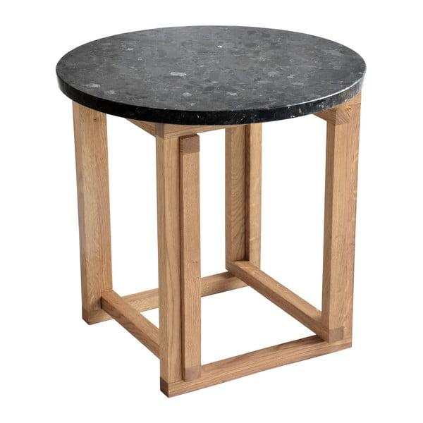 Czarny stolik granitowy z dębowymi nogami RGE Accent, ⌀50cm