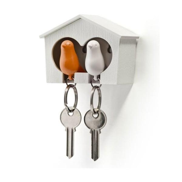 Budka z zawieszkami na klucze QUALY Duo Sparrow, biała/pomarańczowa