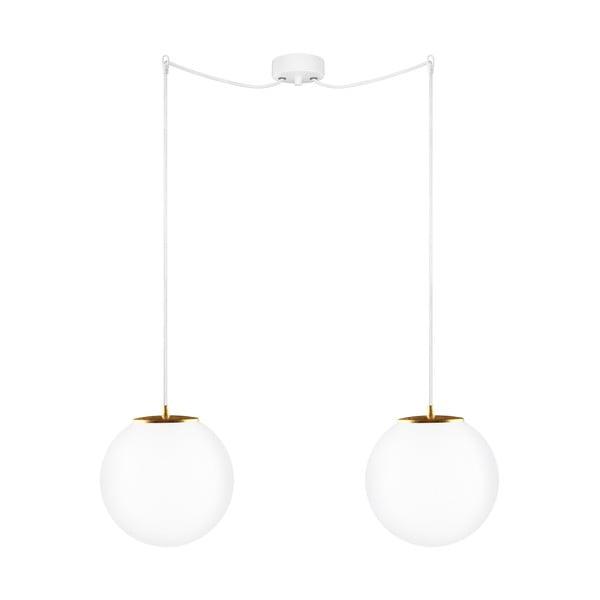 Szklana podwójna lampa wisząca ze złotą oprawką Sotto Luce TSUKI