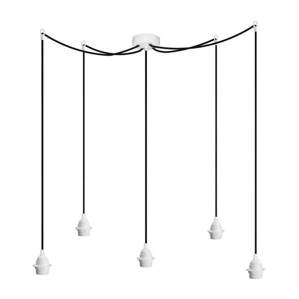 Biało-czarna pięcioramienna lampa wisząca Bulb Attack Uno Plus