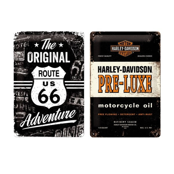 Zestaw 2 blaszanych tablic Harley, 20x30 cm