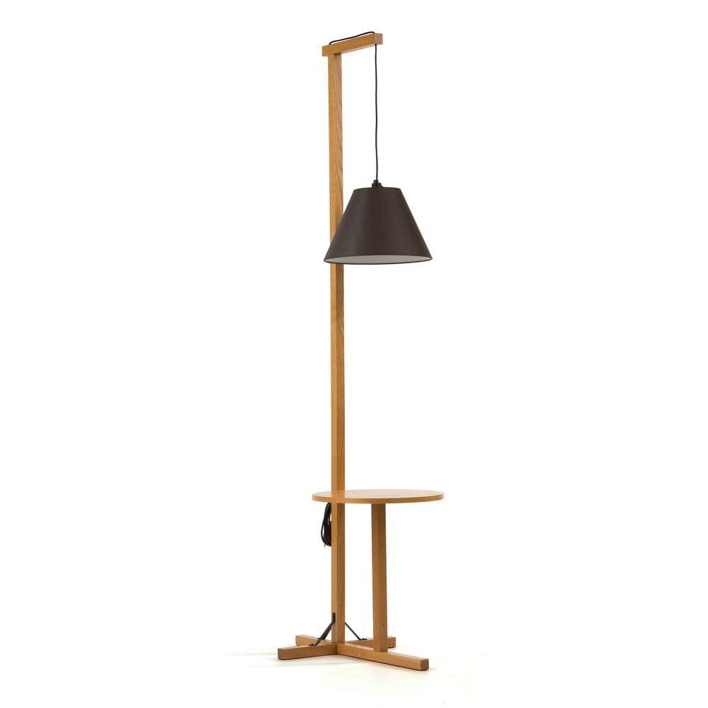 Czarna lampa stojąca z drewnianą konstrukcją Woodman Floor