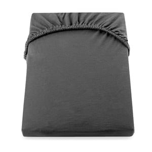 Ciemnoszare bawełniane prześcieradło elastyczne DecoKing Amber Collection, 180-200x200 cm