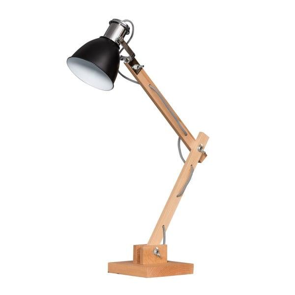 Drewniana lampa stołowa z czarnym kloszem ETH Craco