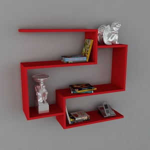Półka Porto Book Red, 22x90x82 cm