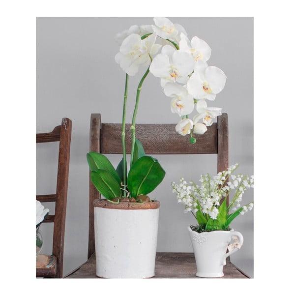 Ceramiczna doniczka ze sztucznym kwiatem Orchid, 62 cm